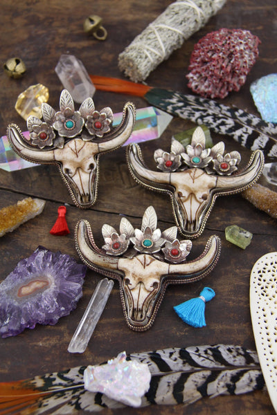 "Boho Bull Cow Skull With Floral Feather Crown Pendant, 3.5"", 1 piece - ShopWomanShopsWorld.com. Bone Beads, Tassels, Pom Poms, African Beads."