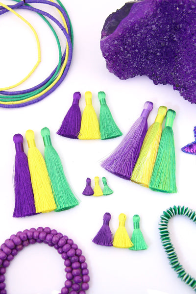Mardi Gras Silky Tassels: Purple, Yellow, Green Jewelry Making Tassels, Assorted Sizes, 3 pcs.