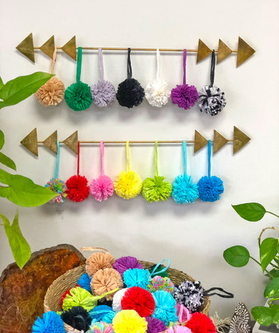 "Raffia Pom Poms with Loops, Handmade from Natural Fibers, 2.5"" - ShopWomanShopsWorld.com. Bone Beads, Tassels, Pom Poms, African Beads."