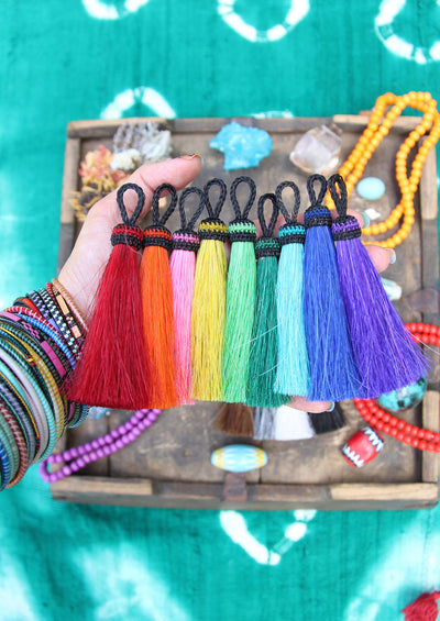 "Solid Brights, 4.5"" Dyed Horse Hair Tassels, 1 piece - ShopWomanShopsWorld.com. Bone Beads, Tassels, Pom Poms, African Beads."