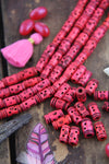 Hot Pink Tribal Barrel:Handmade Bone Beads, 7x14mm, 16 pcs