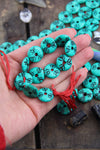 Minty Green Tribal Donuts: Handmade Painted Carved Donut Beads, 5x16mm, 12 pcs - ShopWomanShopsWorld.com. Bone Beads, Tassels, Pom Poms, African Beads.