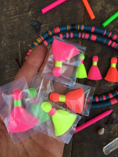 "Multi Neon Mini Tassels, 1.25"" Fluorescent Fringe Pendants, 4 Pieces"