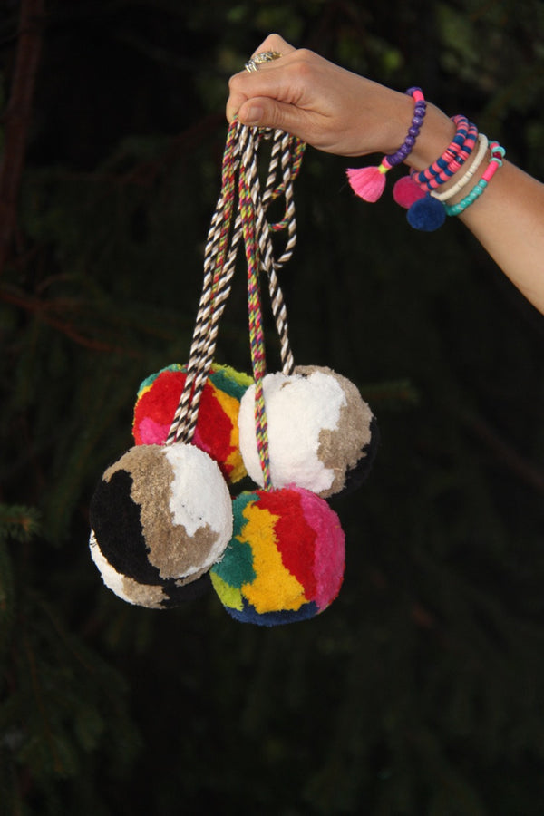 "Giant Pom Pom Swag, 4"" Pom, You Choose  Color Story, Curtain Tieback"