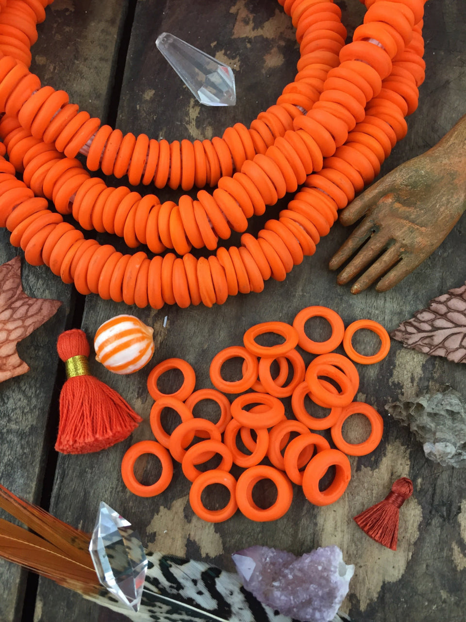 Matte Pumpkin Orange Dutch Donut Dogan Beads, Mali, Africa, Large Hole Glass Beads, Boho Tribal 11-12mm, Mermaid Beachy Jewelry Making, 10pc - ShopWomanShopsWorld.com. Bone Beads, Tassels, Pom Poms, African Beads.