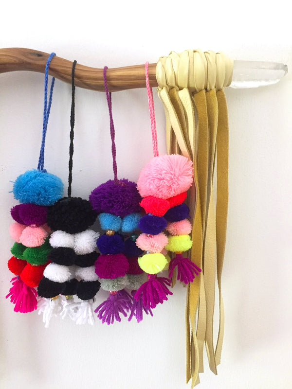 Pom Pom Bag Charms, 1 Piece, Choose from Four Color Combos - ShopWomanShopsWorld.com. Bone Beads, Tassels, Pom Poms, African Beads.