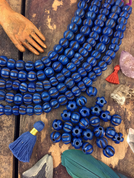 Blue Melon : Indigo Hand Carved Rondelle Stained Indian Bone Beads, 7x9mm, Natural Craft, Fall Jewelry Making Supplies, Bohemian, 25 pcs - ShopWomanShopsWorld.com. Bone Beads, Tassels, Pom Poms, African Beads.