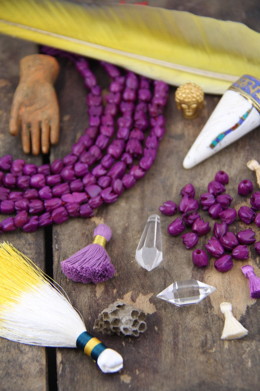 Purple Tulips: Hand Carved Bone Beads, 7x7mm, 24 pieces - ShopWomanShopsWorld.com. Bone Beads, Tassels, Pom Poms, African Beads.