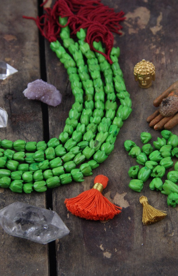 Green Tulips: Carved Flower Bone Beads, 7x7mm, 28 pieces - ShopWomanShopsWorld.com. Bone Beads, Tassels, Pom Poms, African Beads.