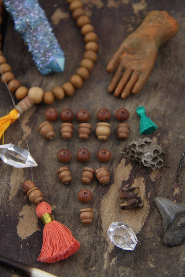 Sandalwood Guru Beads, 8mm, 3 sets (6 beads) - ShopWomanShopsWorld.com. Bone Beads, Tassels, Pom Poms, African Beads.