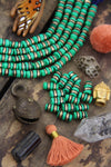 Double Gold Line Green Barrel: Painted Bone Beads, 6x12mm, 16 pieces - ShopWomanShopsWorld.com. Bone Beads, Tassels, Pom Poms, African Beads.