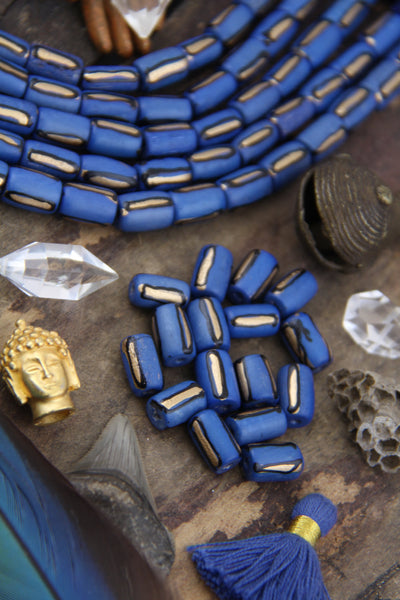 Cornflower Blue Gold Line Barrel: Bone Beads, 8x12mm, 16 pieces - ShopWomanShopsWorld.com. Bone Beads, Tassels, Pom Poms, African Beads.