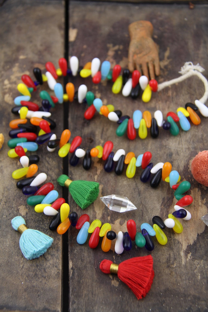 Rainbow Wedding: Colorful African Wedding Beads from Mali, West Africa, Full Strand, Traditional Teardrop Shape, Boho Jewelry Making Supply - ShopWomanShopsWorld.com. Bone Beads, Tassels, Pom Poms, African Beads.