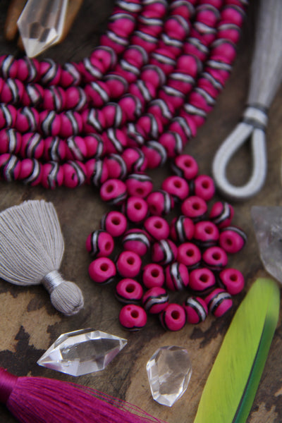 Hot Pink, Silver, Black : Painted Rondelle Bone Beads, 6x8mm, 31 pcs