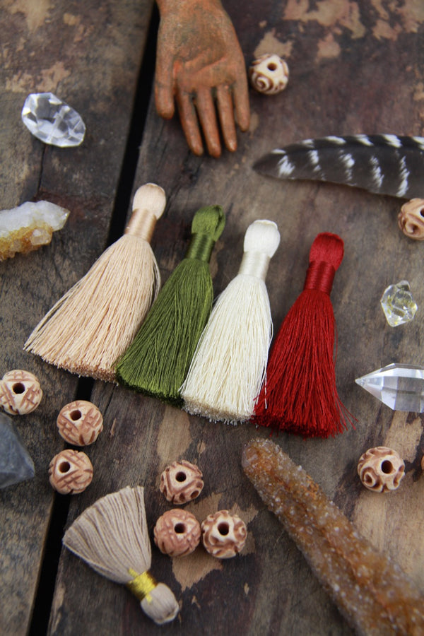 "Fall Colors Tassels: 2"" Inch Silky Tassels, 4 Pieces - ShopWomanShopsWorld.com. Bone Beads, Tassels, Pom Poms, African Beads."