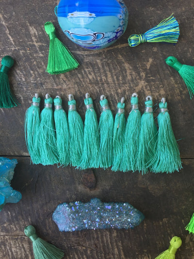 "Tassel Ten Pack, Minty Green, 2"" Art Silk from India - ShopWomanShopsWorld.com. Bone Beads, Tassels, Pom Poms, African Beads."
