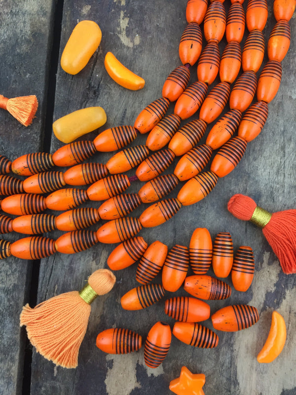 Orange Black Grooved Barrel : Hand Painted Tube Bone Beads, 9x16mm, Boho Large Hole Beads, Fall Jewelry Making Supplies, 13 pcs, Halloween - ShopWomanShopsWorld.com. Bone Beads, Tassels, Pom Poms, African Beads.