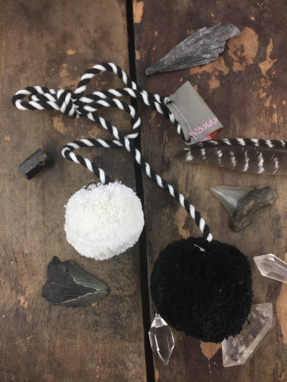 "Black and White Pom Pom Swag, 2"" Pom, 1.5"" Pom - ShopWomanShopsWorld.com. Bone Beads, Tassels, Pom Poms, African Beads."