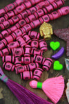 Pink Tribal Target: Handmade Barrel Bone Beads : 8x12mm, 21 pcs - ShopWomanShopsWorld.com. Bone Beads, Tassels, Pom Poms, African Beads.