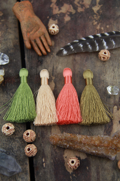 "Foxy Fall Mix: 2"" Inch Silky Tassels, 4 pieces - ShopWomanShopsWorld.com. Bone Beads, Tassels, Pom Poms, African Beads."
