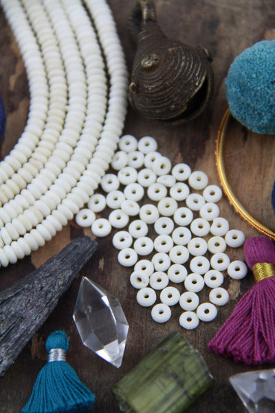 Cream Discs: Bone Beads, 5x2.5mm, 84 pieces - ShopWomanShopsWorld.com. Bone Beads, Tassels, Pom Poms, African Beads.