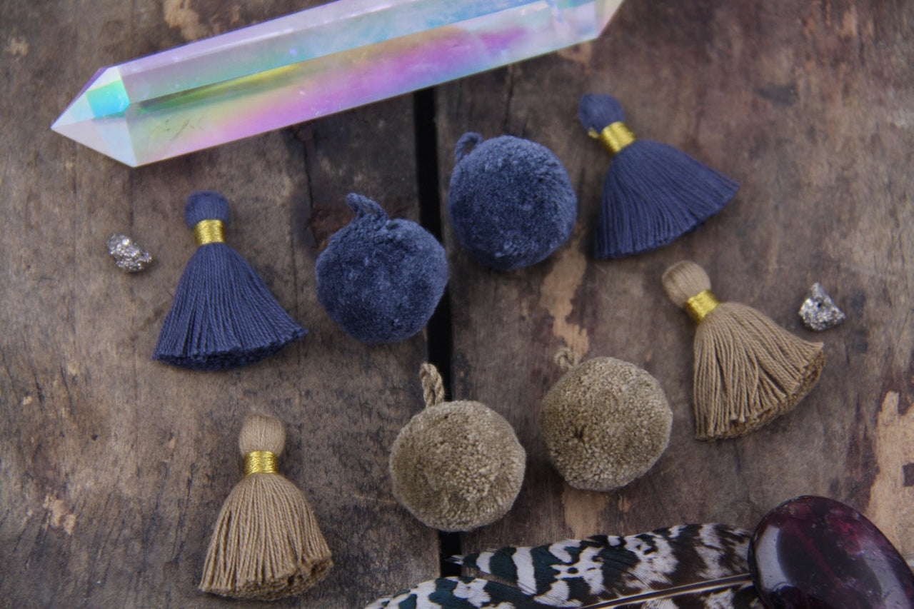 Fall Cotton Tassels & Pom Pom Mix: Stormy Weather, Iced Coffee
