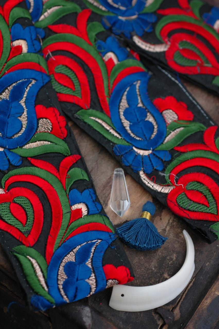 "Mysterious Midnight Paisley: Black, Blue, Red, Green, Gold Silk Trim, Ribbon, Sari Border, India 2 1/8"" x 1 yard, Embroidered Craft Supply - ShopWomanShopsWorld.com. Bone Beads, Tassels, Pom Poms, African Beads."