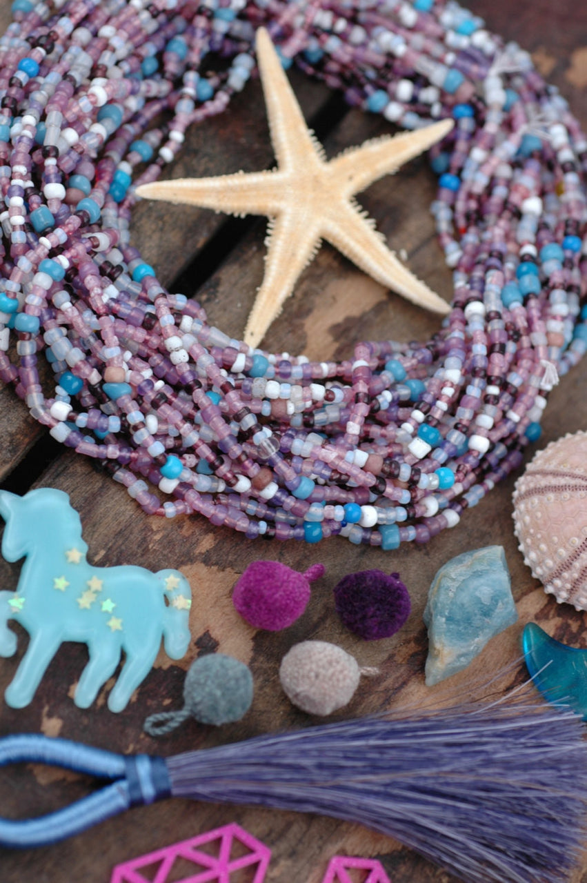 Pastel Plum Party: Vintage French, African Glass Beads, 3x2mm - ShopWomanShopsWorld.com. Bone Beads, Tassels, Pom Poms, African Beads.