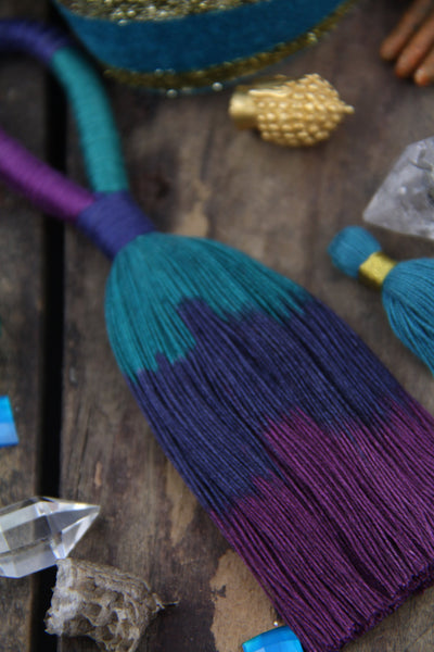 "Galaxy Triple Ombre: Teal/Navy/Purple, 5.5"" Cotton Tassel Pendant"