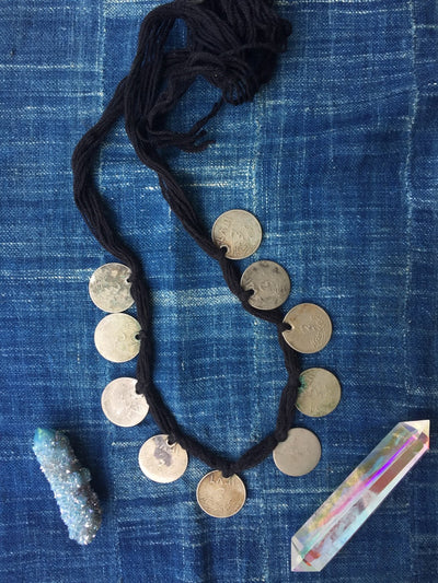 Riches: African Coin Necklace, Niger, Authentic, Rare, Bold Tribal Fashion, Vintage Coin Jewelry, Boho Bohemian Headpiece, Fall Fashion - ShopWomanShopsWorld.com. Bone Beads, Tassels, Pom Poms, African Beads.