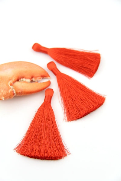 "Aurora Red Pantone Silky Luxe Tassels, 3.5"", 2 Pieces - ShopWomanShopsWorld.com. Bone Beads, Tassels, Pom Poms, African Beads."