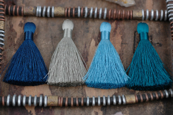 "Tranquil Waters, 2"" Silky Tassel Mixed Pack, 4 pieces - ShopWomanShopsWorld.com. Bone Beads, Tassels, Pom Poms, African Beads."