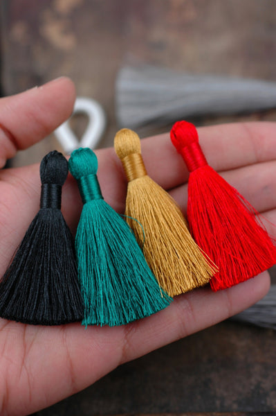 "Festive Winter: Mixed Color Tassel Pack , 2"" Silky, 4 pieces - ShopWomanShopsWorld.com. Bone Beads, Tassels, Pom Poms, African Beads."