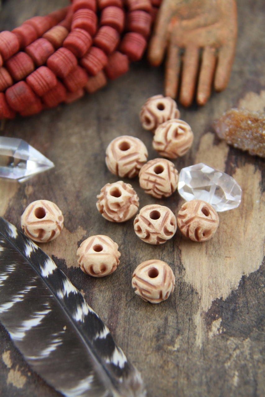 Desert Rose: Carved Bone Beads, India, Tea-Stained Brown, Cream 12x9mm, 10 pcs., Natural Beads, Cow Bone Beads, Craft, Jewelry Making Supply - ShopWomanShopsWorld.com. Bone Beads, Tassels, Pom Poms, African Beads.