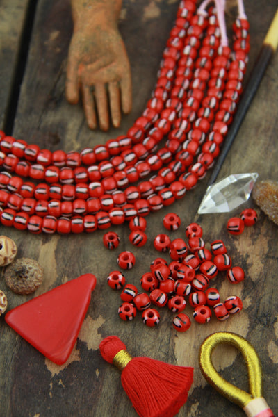 Red Watermelon: Black & White Striped Bone Beads, 6x5mm, 39 pieces - ShopWomanShopsWorld.com. Bone Beads, Tassels, Pom Poms, African Beads.
