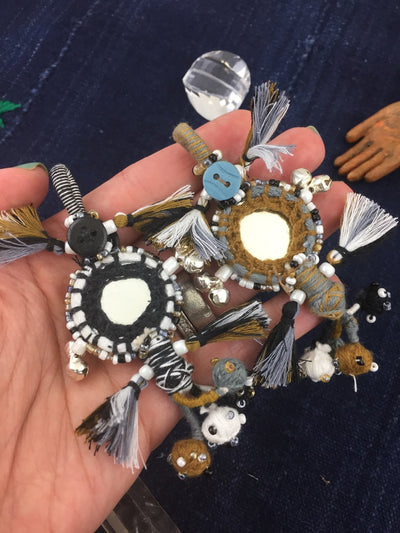 "Neutral Small Swag, 4.5"" Mirrored Charm with Bells, 1 piece - ShopWomanShopsWorld.com. Bone Beads, Tassels, Pom Poms, African Beads."
