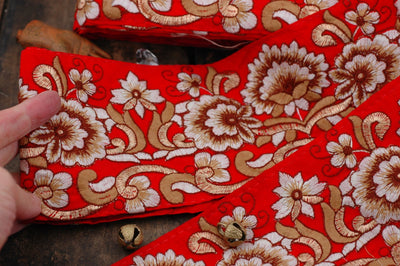 "Crimson Garden: Red and Gold Silk Trim, Ribbon, Sari Border, India 4""x1 Yard, Winter Floral Craft and Sewing Supplies, Metallic Accents - ShopWomanShopsWorld.com. Bone Beads, Tassels, Pom Poms, African Beads."