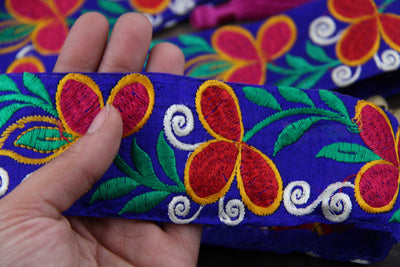 "Cobalt Garden Party: Cobalt Blue, Pink, Red, Yellow Floral Silk Trim, Sari Border, India 2 1/4""x1 Yard, Colorful Sewing Supplies - ShopWomanShopsWorld.com. Bone Beads, Tassels, Pom Poms, African Beads."