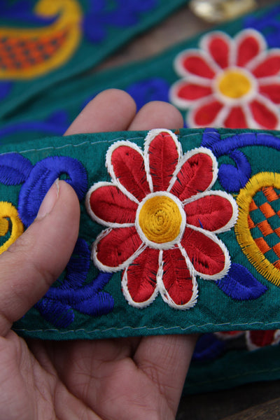 "Pocketful of Poseys & Paisleys: Green, Red, Blue, Yellow Silk Trim, Ribbon, Sari Border, India 2 1/4"" x 1 yard, Embroidered Sewing Supply - ShopWomanShopsWorld.com. Bone Beads, Tassels, Pom Poms, African Beads."