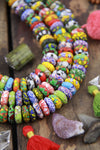 Multi Color Mosaic Sandcast Ghana African Glass Rondelle Beads