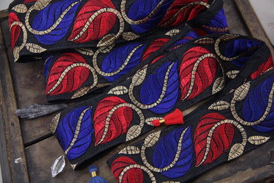 "Regal Vines at Midnight: Black with Red, Blue, Gold leaves, Sari Border from India 2 1/2"" x 1 yard, Ornate Winter Sewing Decorating Supply - ShopWomanShopsWorld.com. Bone Beads, Tassels, Pom Poms, African Beads."