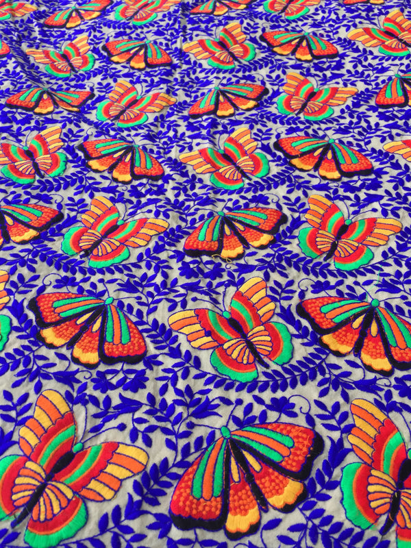 "Flutterby Butterfly Embroidered Silk Fabric, 42"" x1 yard - ShopWomanShopsWorld.com. Bone Beads, Tassels, Pom Poms, African Beads."