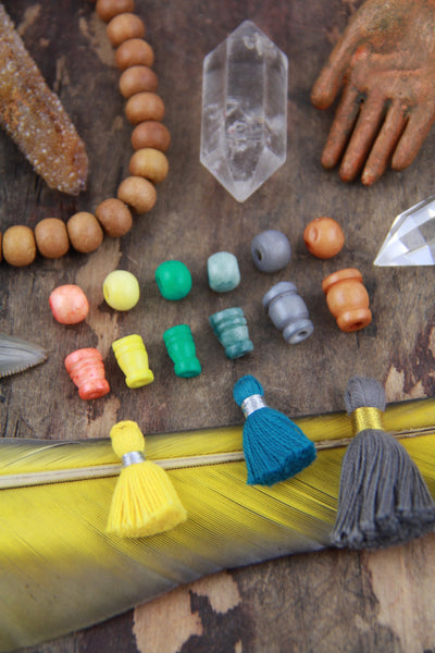 8mm Bone Guru Beads, 3 sets (6 beads), Choose from 6 Colors - ShopWomanShopsWorld.com. Bone Beads, Tassels, Pom Poms, African Beads.