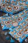 "Cerulean Garden: Aqua Blue and Gold Trim, Ribbon, Sari Border, 4""x1 Yard - ShopWomanShopsWorld.com. Bone Beads, Tassels, Pom Poms, African Beads."