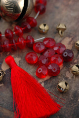 Antique Red Vaseline Glass African Trade Beads, 16x11mm, 10 loose beads - ShopWomanShopsWorld.com. Bone Beads, Tassels, Pom Poms, African Beads.