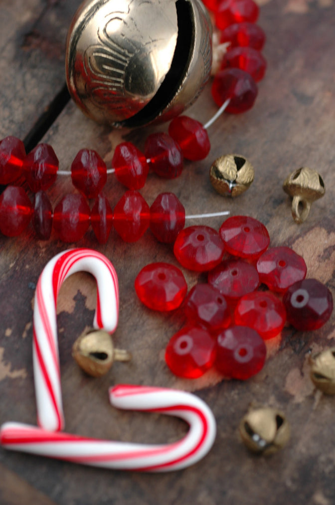 Antique Red Vaseline Glass African Trade Beads, 16x11mm, 10 loose beads