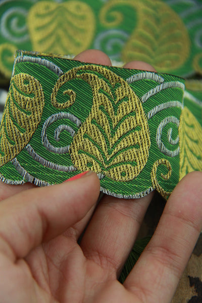 "Green Scalloped Leaves: Green, Gold Jacquard Trim Ribbon, Sari Border 2"" x 1 yard, Holiday Gift Wrap, Decorating, Wedding, Sewing Supply - ShopWomanShopsWorld.com. Bone Beads, Tassels, Pom Poms, African Beads."
