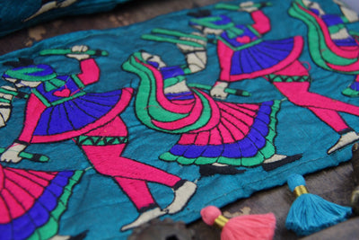 "Teal Sword Dance: Bright Embroidered Silk Trim, Ribbon, Sari Border, India 5 1/2""x 1 yard, Traditional Indian Scene, Sewing Supplies, Fabric - ShopWomanShopsWorld.com. Bone Beads, Tassels, Pom Poms, African Beads."
