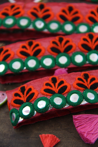"Watermelon Picnic: Pink Green Embroidered Trim, Ribbon, Sari Border from India, 1 1/4"" x 1 yard, Bright Mirrored Sewing + Summer Decorating - ShopWomanShopsWorld.com. Bone Beads, Tassels, Pom Poms, African Beads."