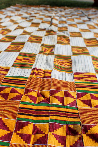 Tribal Geometry: Vintage Ewe Kente Cloth / Yellow, Burgundy, White / Ghana, West Africa 1970's Textile / Decorating, Repurposing, Decor - ShopWomanShopsWorld.com. Bone Beads, Tassels, Pom Poms, African Beads.
